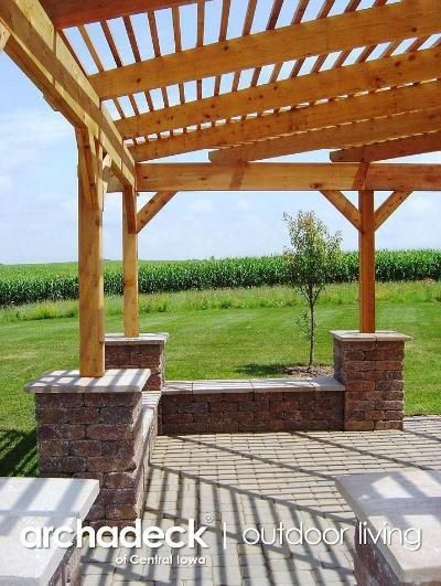 Pergola over Patio with Seat Walls