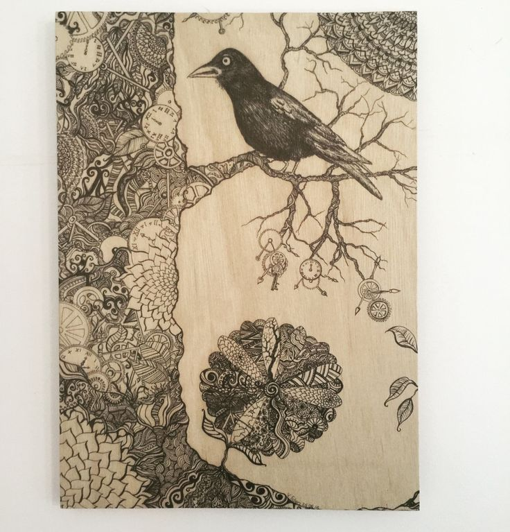 Raven steampunk print on A3 marine-grade plywood