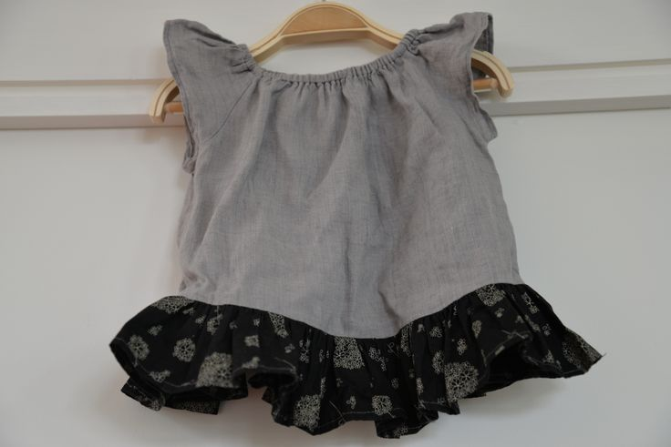 Yet another peasant top - this one I made with grey linen with a black cotton with lovely flowers as a contrast gathered bottom