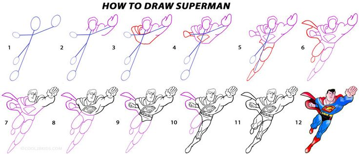 How to Draw Superman (Step by Step Pictures) | Cool2bKids