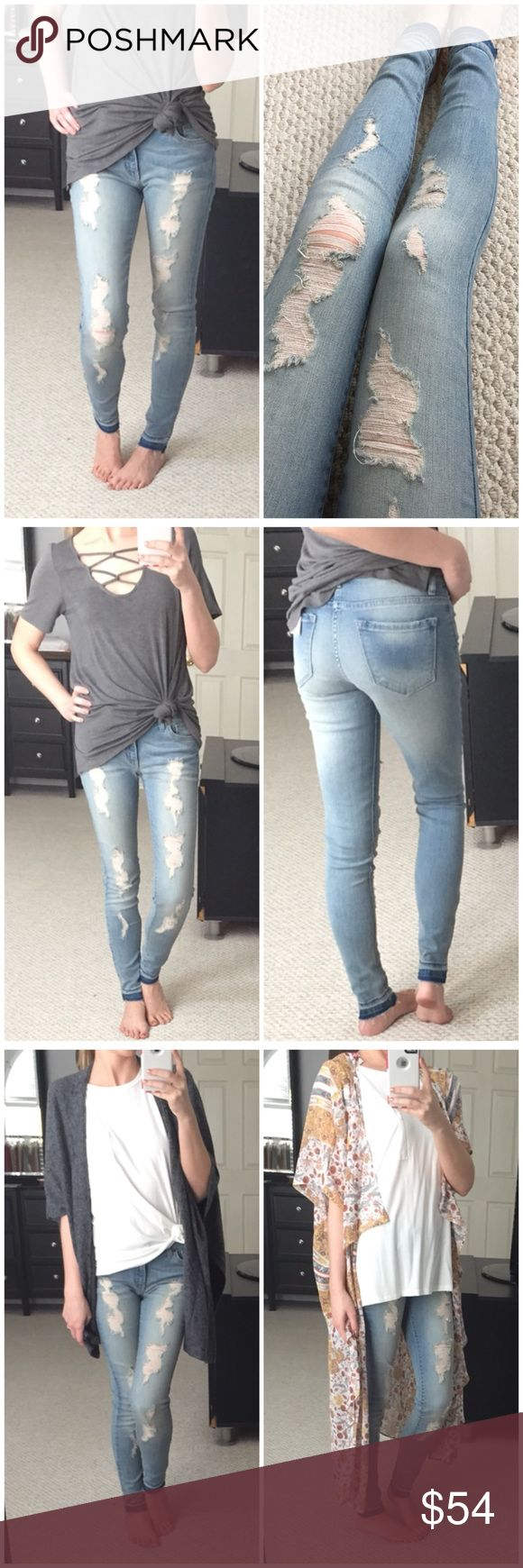 """▫️Light Wash Distressed Denim with Fray Hem Probably my favorite jeans yet! 😍 So stretchy & comfy! Light wash denim with distressed front and fun fray hem. Wonderful quality and so on trend! Perfect for the upcoming warmer months! Looks great with any white or grey top!  Might be able to get more sizes! Mid-rise. Modeling 1/24 and I'm a smaller 25. 73% cotton, 14% rayon, 11% polyester, 2% spandex.  Measurements: Waist: (1/24) 12.5"""" (3/25) 13"""" (7/27) 14"""" Hips: (1/24) 15.5"""" (3/25) 16"""" (7/27)…"""