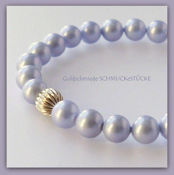 Perlenarmbänder - Armband - Muschelkernperlen -  hellblau - ein Designerstück von SCHMUCK-e-STUECKE bei DaWanda
