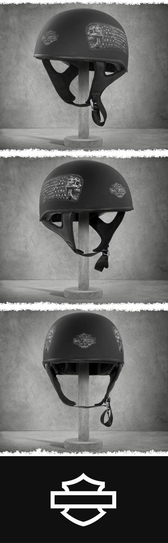 Matte black…screaming skull…Stars & Stripes. | Harley-Davidson Laxity Low-Profile J01 Half Helmet
