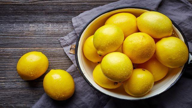 fresh wet lemons