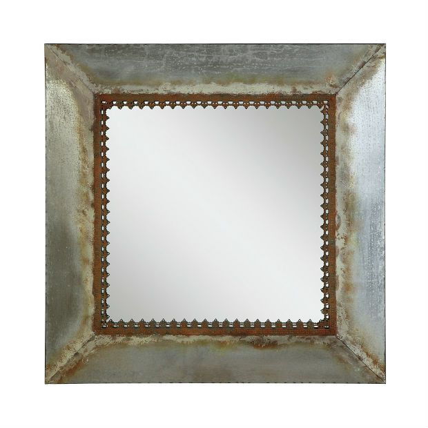 Showcasing metal framed wall mirror that features square shape. Rustic look of…