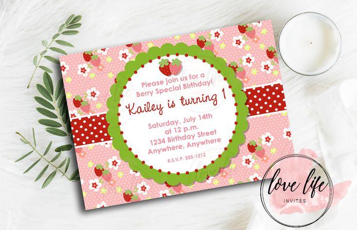 strawberry birthday invitation - 734×473