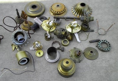 Vintage Oil Lamp Parts Burners, Smoke Bell, Shade Ring Light Finials