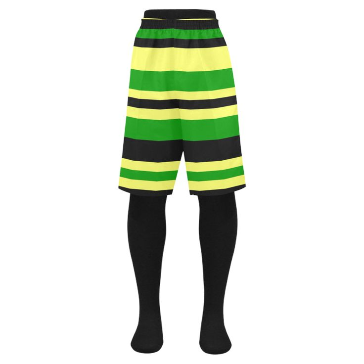 Jamaican inspired Yellow, Black and Green Stripes Men swim trunks my Khoncepts