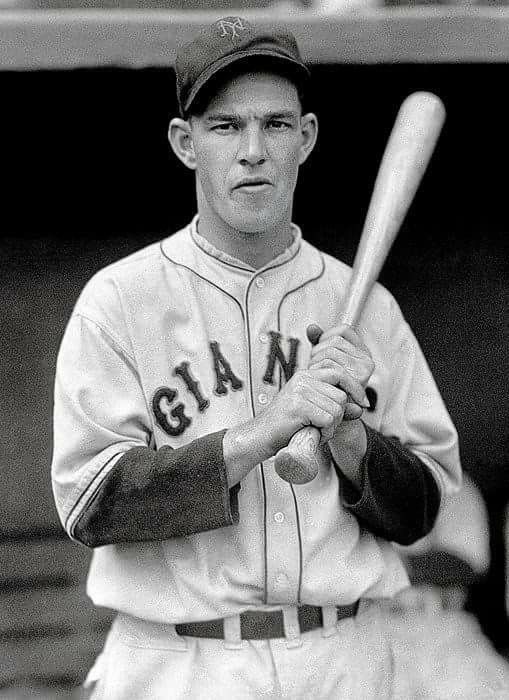 "Mel Ott stood only 5'-9"" but swung a mighty bat. He played 22 yrs with the NY Giants, whacking 511 HRs, led the NL 6X in HRs, 1860 RBIs, and is in a select group with a career .300/.400/.500 BA-OBP-SLUG line."