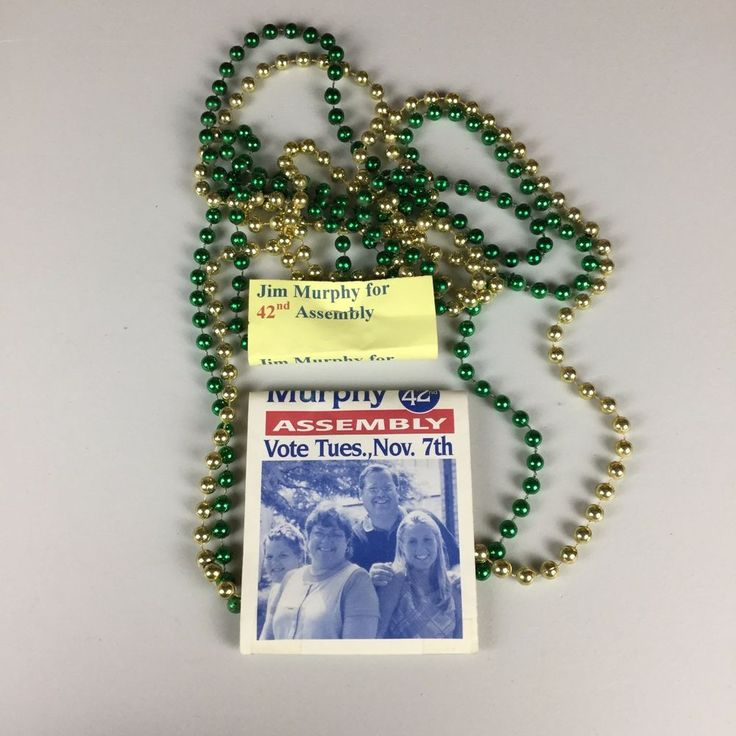 At the time Jim Murphy was running for Wisconsin State Assembly. The brochures and ads attached to the necklaces talk about Murphy's wholesome family history and urge voters to choose him in the upcoming November elections.   eBay!