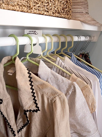 Sort clothes by category or color to make it easy to find what you need. Insert garment organizers or use multicolored hangers to label your groupings. Also, professional organizers suggest turning all of the hangers in your closet the opposite way. Every time you wear an item, turn the hanger around. After a few months, you can clearly see what clothing items you could live without.