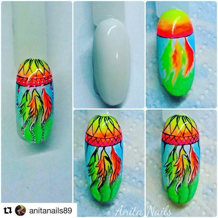 #Repost @anitanails89 (@get_repost) ・・・ Neon dreamcatcher with neon emulsion gel by @slowianka_nails  #instanails #beautynails #nailstagram #handpainted #nailaholizm #freehand #nailart #anitanails89 #multiartgel #slowiankanails #almondnails #lovemyjob #lovemypassion #mywork #myhobby #paznokcie #neonemulsiongel #dreamcatchernailart #nailswag #nail2inspire #nailartclub #nailporn #nailsdid #nailaholic
