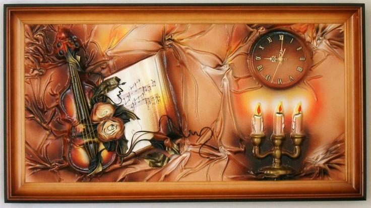 Obraz   zegar scienny ze sk�ry, 112x60, na prezent