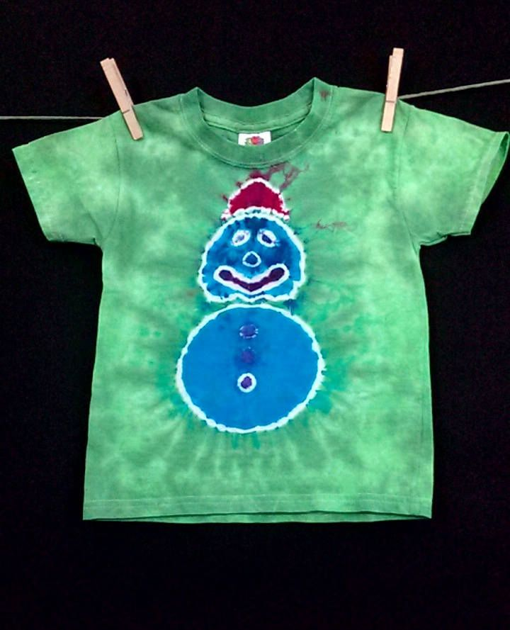 Tie Dye Shirt,Tie Dye Snowman,Children's Size 3T,Kid's Tie Dye Snowman Tee,Christmas T-shirt by LadybugTieDye on Etsy