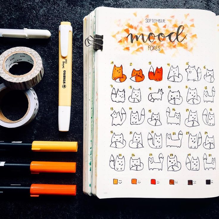 • I wanted to make my mood tracker a little more creative this month🍂 so here come the mood foxes 🦊✨ what do you think?✨ • #bujo #bujogram…