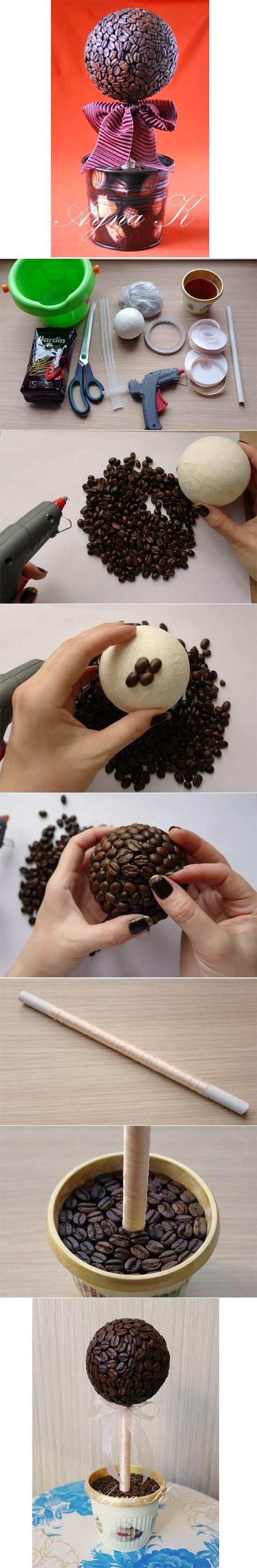 DIY Coffee Tree Ornament - this would smell so good! I like the top but not the rest.