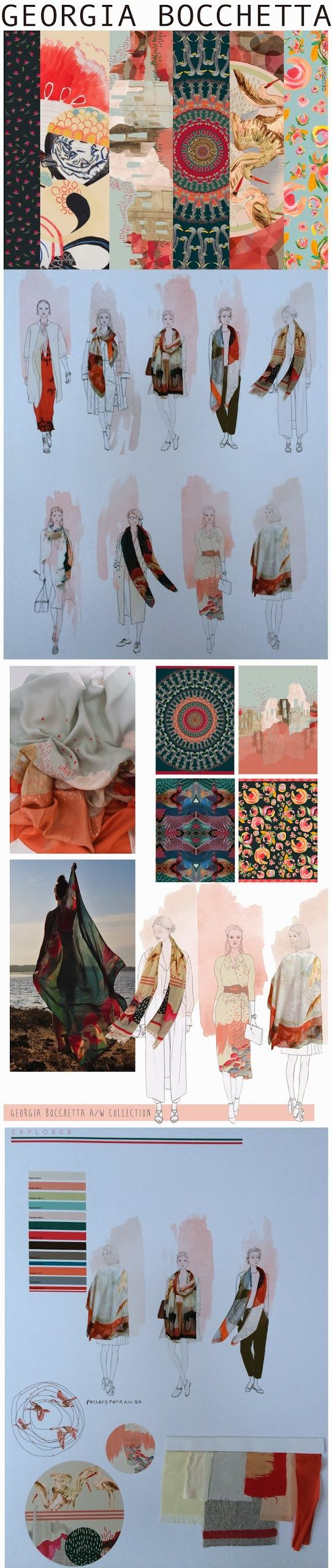 Fashion Portfolio - textiles print & pattern design development - fashion sketchbook; fashion illustration by Georgia Bocchetta.