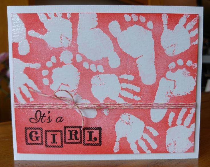 Heat Embossed New Baby Girl Card. Head over to our blog at www.thegoodcraftshop.co.uk/blog/ to see how I made this cute card and to check out the other fantastic stock available visit our website at www.thegoodcraftshop.co.uk. The main products I used for this card was the Kaisercraft Pitter Patter Clear Stamp Set, Tim Holtz Distress Ink Pad in Abandoned Coral and the Dovecraft Forget Me Not Twine.