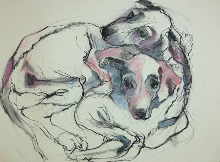 "Saatchi Art Artist Juan Lopez-Bonilla; Drawing, ""2 Puppy Brothers Abandoned"" #art"