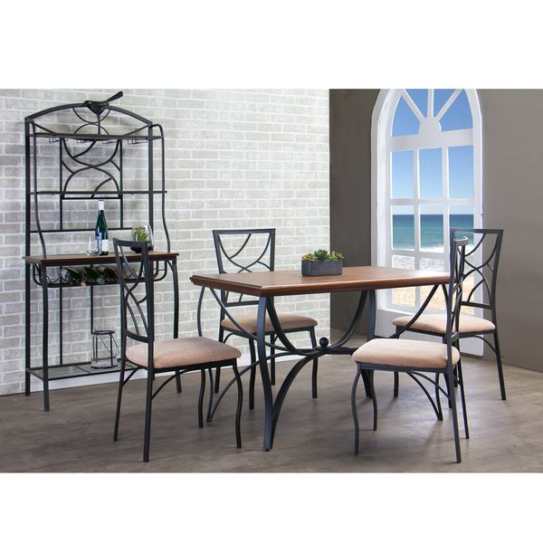 Valletta Wood and Metal 6-Piece Transitional Dining Set with Bakeres Rack - Overstock™ Shopping - Big Discounts on Baxton Studio Dining Sets