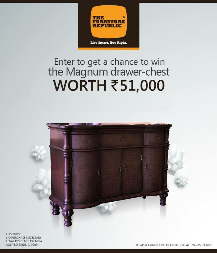 #TFRLast 2 days left for TFR's Mega Year-end Raffle draw. Win a Magnum drawer-chest worth ₹ 51,000. Live Smart, Win Right!.Click here for information:http://tiny.cc/8vyv8w