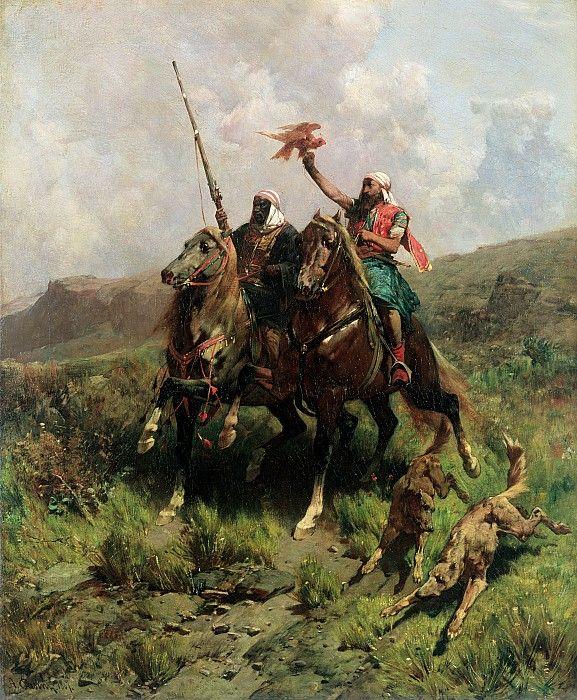 Arabs with a Falcon (oil on canvas) by Pasini, Alberto (1826-99)