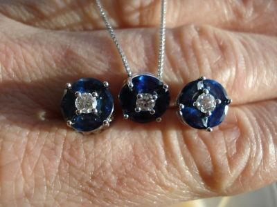 deco sapphire earrings/necklace