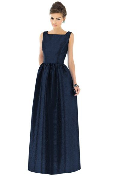 Free shipping and returns on Alfred Sung Square Neck Dupioni Full Length Dress at Nordstrom.com. A mininum of fuss allows the beautifully crafted silhouette of a full-length gown to shine with timeless appeal. Dupioni fabric brings a rich look, squared necklines elegantly frame the structured bodice, and lush gathers add waist-nipping flounce to the floor-sweeping A-line skirt.