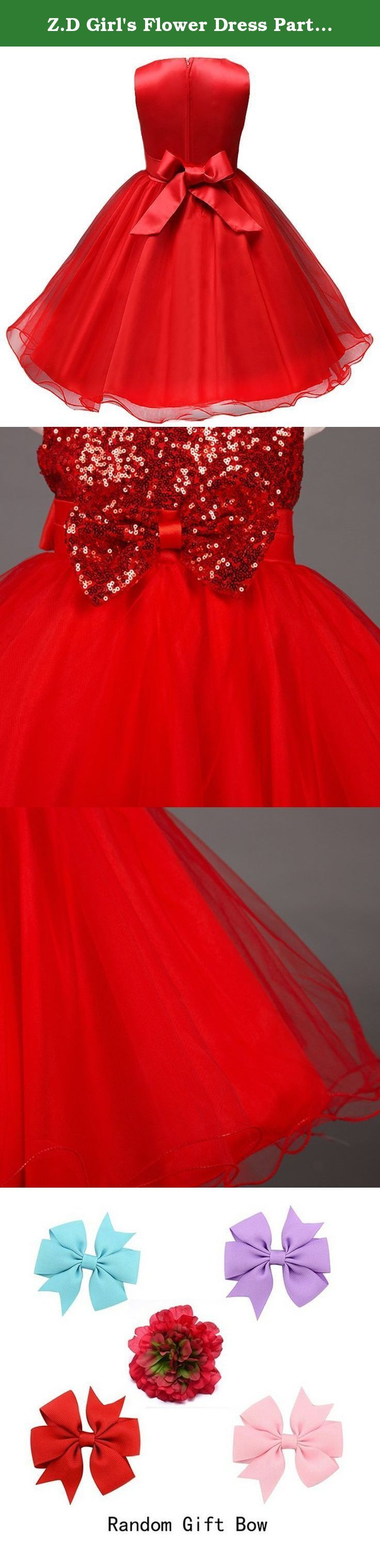 "Z.D Girl's Flower Dress Party Wedding Gown Bridesmaid Tulle Ruffle Dress Girl, Red, US 7. This beautiful dress is made of high quality material,which is handmade beautiful floral dress.Wearing it,you can feel like yourself look like one princess. Please check the size chart on the amazon carefully.If there is any question,please feel free to contact with us. 100% Polyester. Hand wash. Bust:Size3/US 2T:21.65"" Size4/US 3T:22.83"" Size6/US 4:23.62"" Size8/US 6:25.2"" Size10/US 6X:26"" Size12/US..."