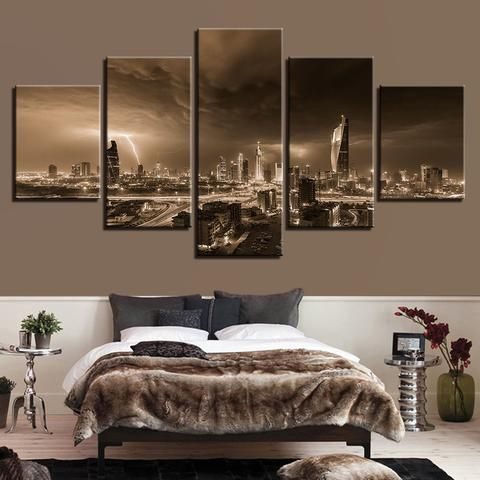 5 Pieces Lightning Overcast City Building Landscape Paintings Wall Art