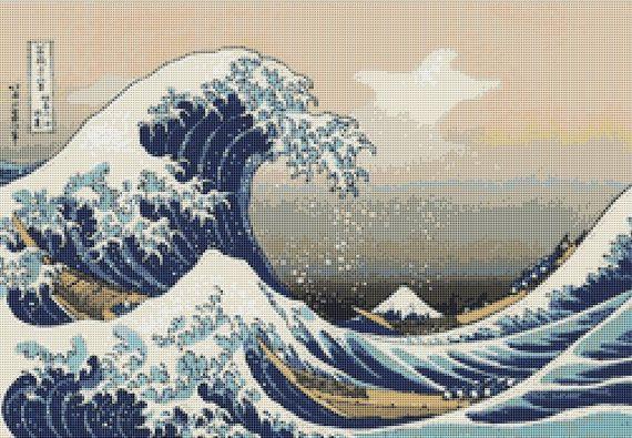 Japanese Seascape Cross Stitch Chart, Katsushika Hokusai, The Great Wave off Kanagawa, Instant Digital Download Counted Cross Stitch Pattern