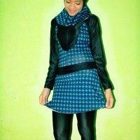 BRMD201430 Baju Renang Muslimah Dewasa Warna Biru Motif Abstrak beli di ellima.web.id