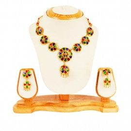 8 Pcs Japi Necklace with ear rings-The jewelry is unique in its design with the Japis beautifully handcrafted with Red, Blue and Green floral design to give a dazzling look.  Contact us: 9678660505