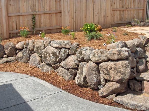 Mossy Rock Retaining Wall 17th Street Backyard