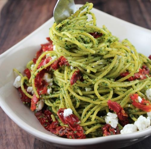 LLB Kale Pesto Spaghetti with Goat Cheese, As Seen On: Quick, easy, healthy meal ideas from @Berry Steiner Rules