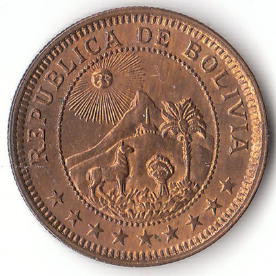 Beautiful Uncirculated 1 Boliviano coin Nice collectible coin from Bolivia