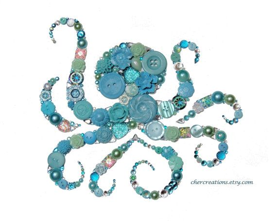 OCTOPUS DANCE 8x10 Button Art Button Artwork от CherCreations