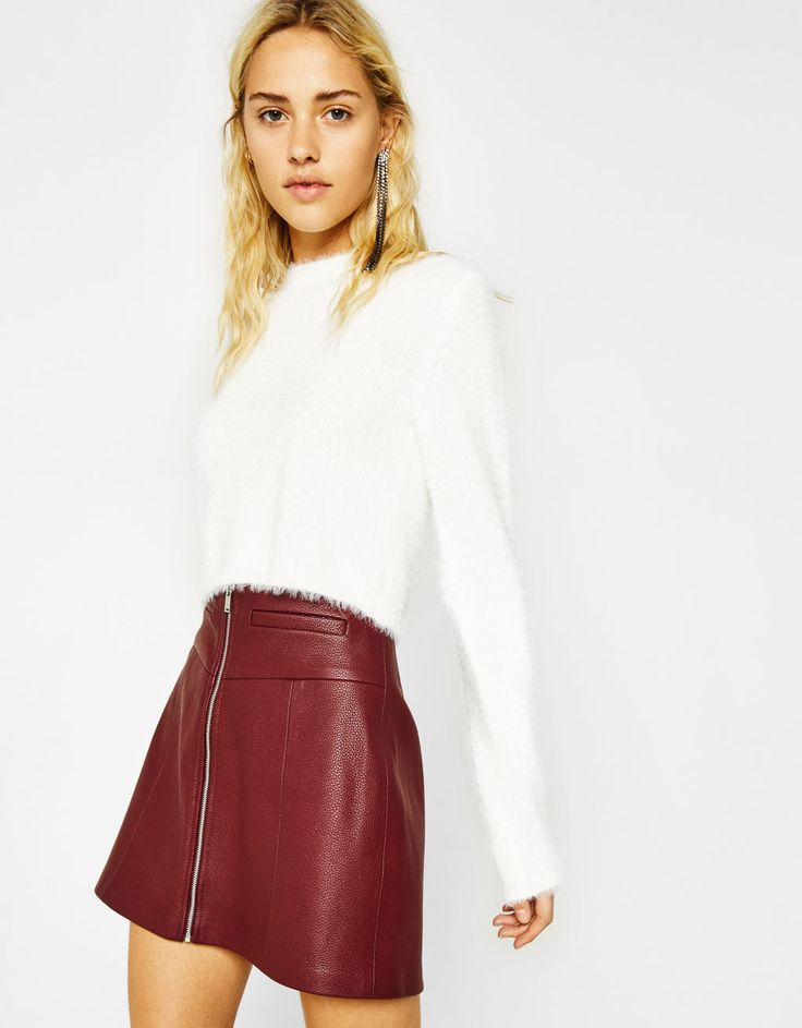 Bershka United States - Faux leather A-line mini skirt with zip