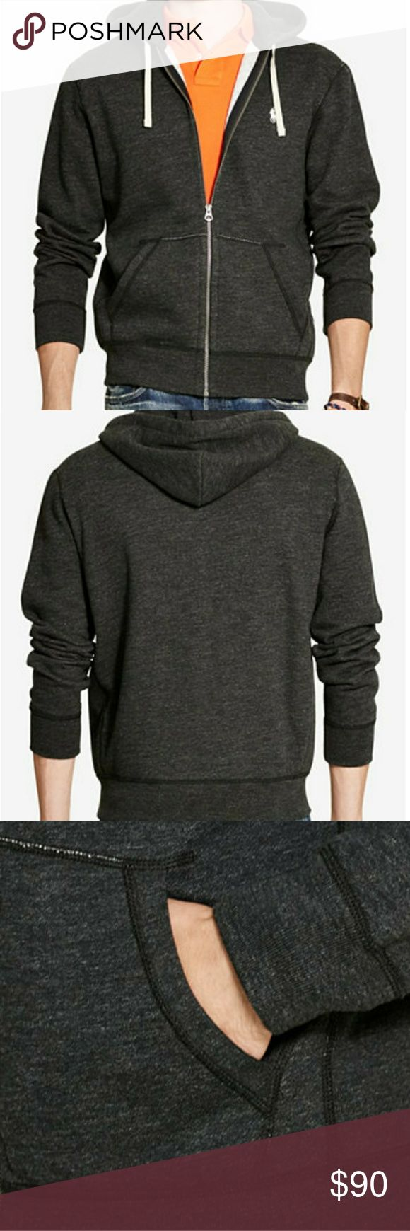 Men's Polo by Ralph Lauren New Hooded Sweatshirt Men's Polo Ralph Lauren hooded sweatshirt. Full zip and front pockets. Drawstring hood. Charcoal color with red Polo emblem. Size large and brand new. Polo by Ralph Lauren Shirts Sweatshirts & Hoodies