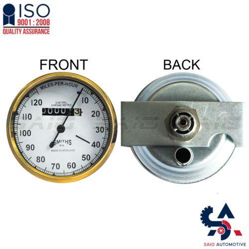 Smiths Replica Speedo Meter Speedometer 0-120 MPH White For BSA Brass