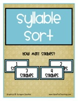 Syllable SortActivity:Sort the syllable picture cards and syllable word cards into groups depending on how many syllables they have. Comprehension worksheet included.    Syllable SortActivity – Click Here    Information: Syllable Activity, Syllables Center