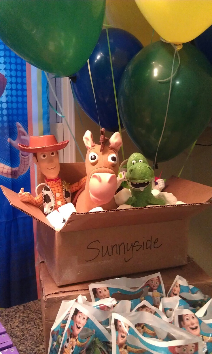caja carton sunnyside con juguetes decoracion