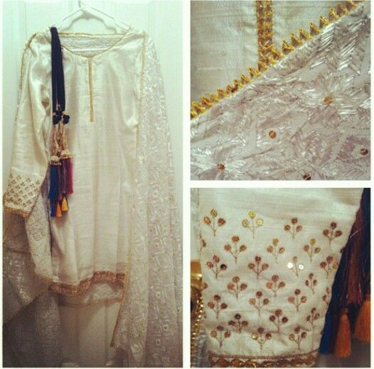 White gota and sequinned Patiala by Harkiran Basra