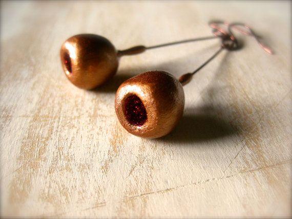 Copper/Raspberry glitter pod earrings with Copper by OpiumStudios, $12.00