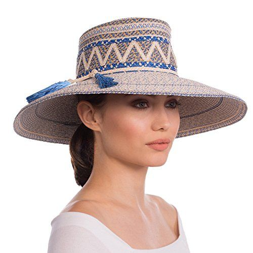 93160219a95 Luxury Fashion Designer Women s Headwear Hat - Palermo - Cream Blue Tweed