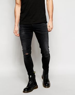 ASOS Extreme Super Skinny Jeans With Rip
