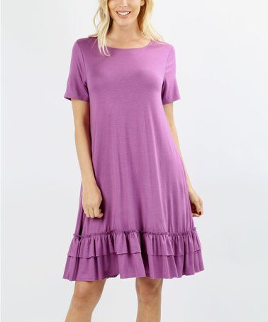 2c1935dc0c Look what I found on  zulily! Dark Mauve Ruffle-Hem Side-Pocket Shift Dress  - Women   Plus  zulilyfinds
