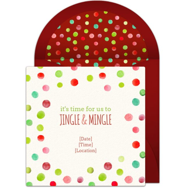 It's time to Jingle & Mingle! One of our favorite free Christmas party invitations. Easily personalize and send via email for a holiday gift exchange, family Christmas party, or festive cocktail party.