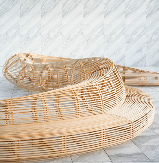 Bench designed by Frank Gehry. The shape of the bench is very interesting and the use of curvy shapes makes if very delicate.