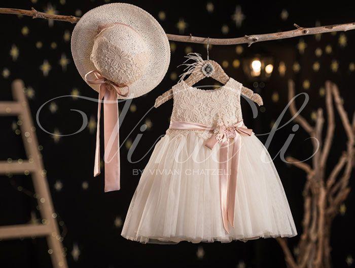 Βαπτιστικό φόρεμα Vinteli μεσάτο με δαντέλα 2615